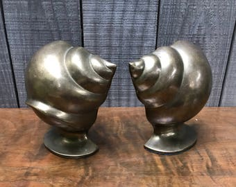 1950's Brass Conch Shell Bookends