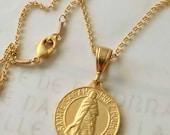 Necklace - Sainte Sarah & Saintes Maries 18K Gold Vermeil - 23mm + 18 inch Gold Vermeil Chain