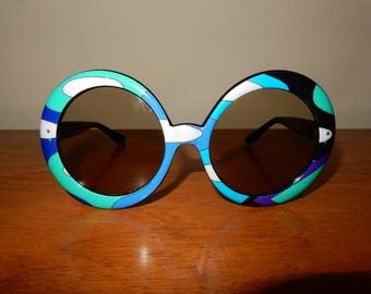 Vintage 70s EMILIO PUCCI  round oversize Psychedelic Glasses Sunglasses