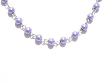 Pearl necklace, pearl chain necklace, necklace, purple necklace,  beaded necklace,  purple pearl necklace