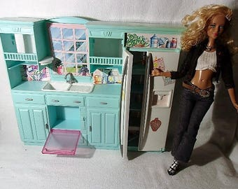 barbie doll working blue kitchen including food drink minatures vintage 55 piece diorama dollhouse photo prop