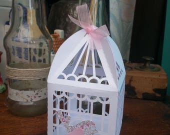 """containing sweets, candies, favors shaped cage """"bird"""" theme"""