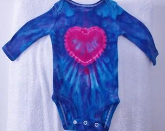 Tie Dyed Onesie Ice-Dyed Onesie Baby Valentine's Gift Heart Onesie