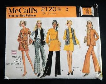 Vintage McCall's Sewing Pattern 2120 - Misses' & Junior Coordinates- Size 12- 1969- women's, dress, blouse, pants, mini dress, jacket, retro