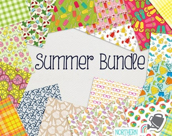 Summer Digital Paper BUNDLE - save 50% on Northern Whimsy hand drawn summer seamless pattern sets!  Small commercial use license included.