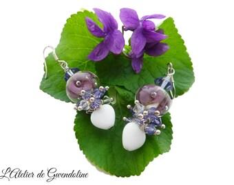 Purple and white earrings, Lampwork, Swarovski Crystal, silver bead