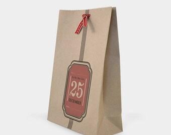 """Do not open until Christmas"" - kraft bag packaging for Christmas"