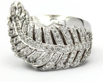 SONIA B Diamond Feather Ring in 14k White Gold, Size 7