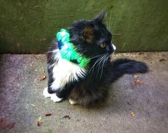 Reflective Cat Collar Elastic Pet Collar Crochet Green Blue Collar Unique Handmade Pet Accessories