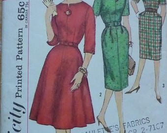Vintage sewing pattern. Simplicity 3755. Dress pattern, 1950s, bust 36