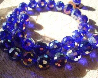 12mm Cobalt Blue, Hand Cut Glass Disco Rounds with AB Finish. 10/20pc Deepest, Translucent Cobalt Blue Focal/ Sun Catcher/ Prom Beads.