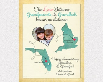 Gift for Grandma and Grandpa, Personalized Gift for Grandparents, Long Distance Grandparents and Grandkids Print, Customized Map Art (14a)