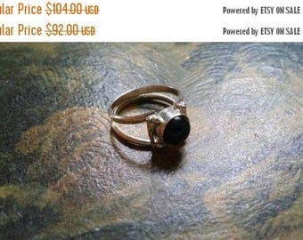 Holiday SALE 85 % OFF Black Onyx  Size 6.5 Ring Gemstone. 925 Sterling  Silver Tribal Ethnic