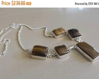 Holiday SALE 85 % OFF Tiger eye  Necklace .925 Sterling  Silver  Gemstone