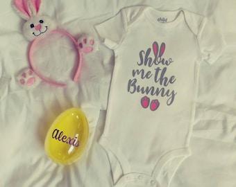 Bunny onsie/spring onsie/show me the bunny/Easter onsie