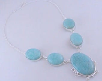 free shipping Amazonite .925 Silver Handmade Jewelry Necklace 55 Gr. F-416