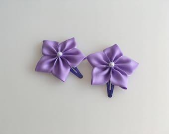 Pin Hair Flower, Japanese Flower, Fabric Kanzashi Flower, Girl purple Hairclip, Baby Hair Accessory, Bridal Hair Accessories, Woman Hairclip