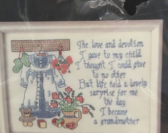 Dimensions, Stamped Cross Stitch Kit 6597, Grandmother's Love, Calligraphy Design,Grandmother Gift,Cottage Style,Grandma Present,Grandparent