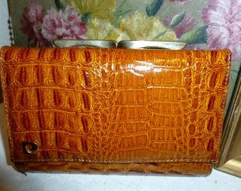 Vintage Pierre Cardin Leather Wallet Cognac Brown Kiss Lock 1970's