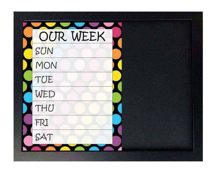 Family calendar chalkboard - Perpetual calendar - Family Organization - Our week - Calendar magnets - Framed Magnetic chalkboard
