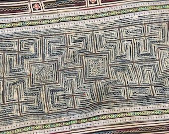 Hmong Handmade Batik Fabric Vintage Cotton Indigo Hill Tribe Re-claimed Tribal