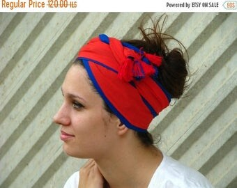 SALE Unique BLUE and RED head scarf,hair wrap,head covering,tichel,head wrap,tassels