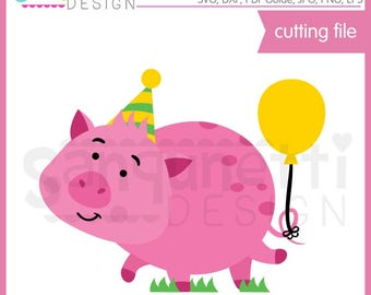 Party Pig SVG, Birthday SVG, pig DXF, pig clipart, eps, dxf, pig cut file, svg Files for Cutting Machines