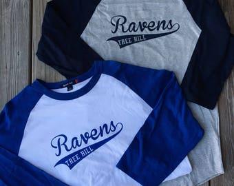 Tree Hill Ravens Baseball Raglan Sleeve Tee