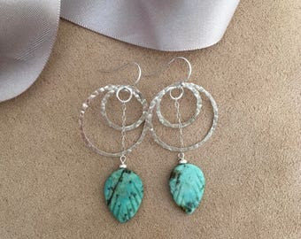African turquoise hammered sterling silver rings dangle earrings