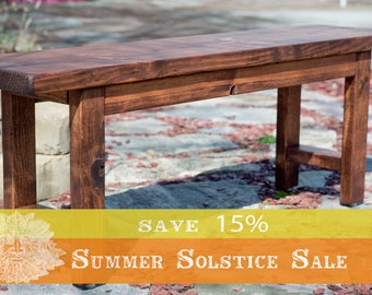 "15% OFF SUMMER SALE!! Entryway Bench 48"", Wood Bench, Wooden Bench, Rustic Bench Finished in Red Oak Stain"