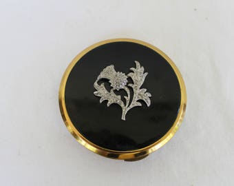 Marcasite Thistle powder compact, Kigu compact, Thistle black lid compact