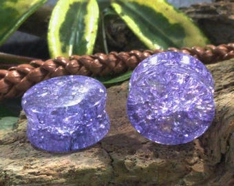 """Shattered Purple Glass Double Flared Plugs (Pair) 6mm 8mm (0G) 10mm (00G) 12mm (1/2"""") 14mm (9/16"""") 16mm (5/8"""") 18mm (11/16"""") 20mm 25mm (1"""")"""