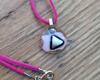 Baby pink and silver dichroic fused glass pendant, pink suede cord, silver plated findings