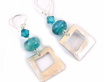 Sterling Silver Square Rhodium Charm Earrings