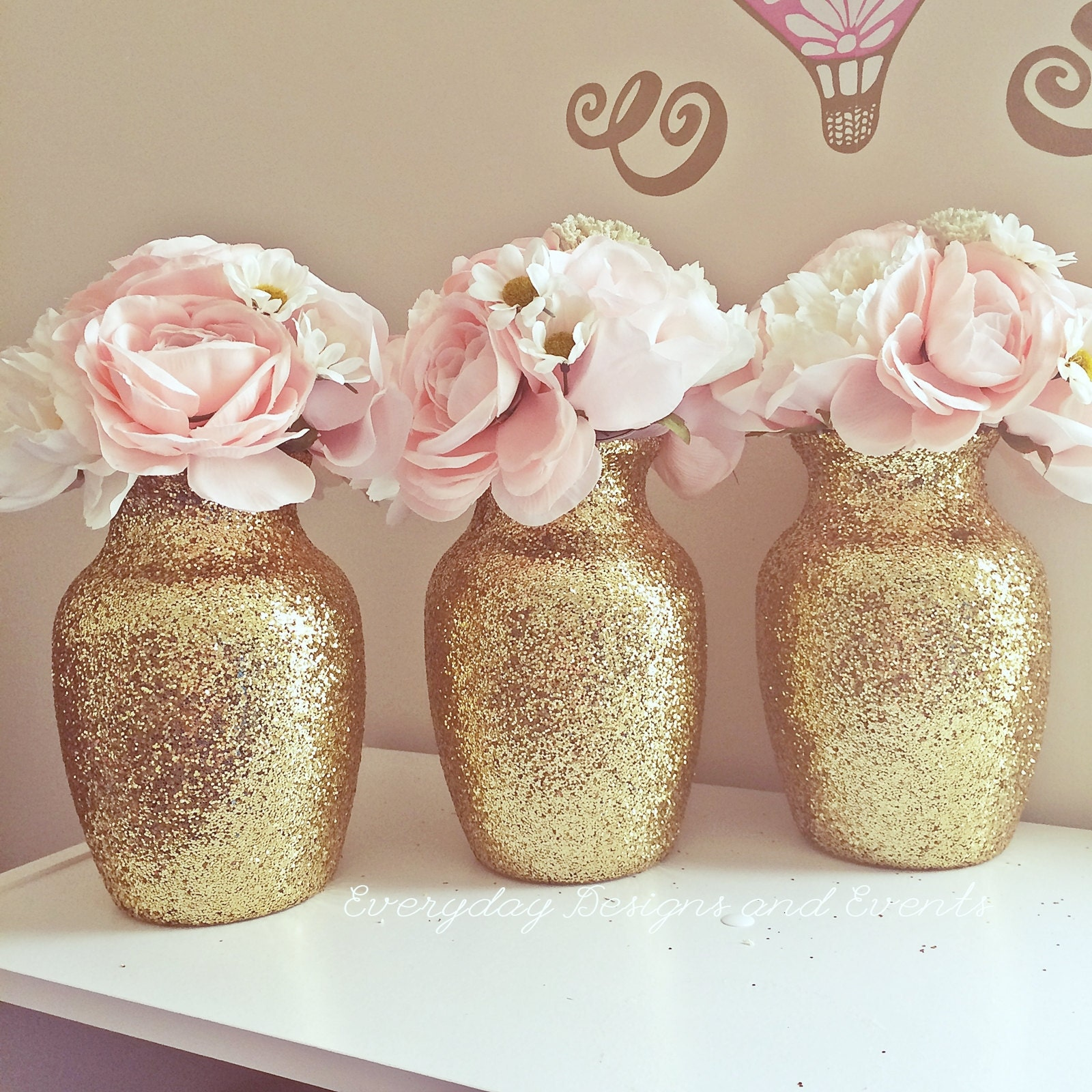 3 rose gold glitter vases rose gold centerpiece wedding request a custom order and have something made just for you reviewsmspy