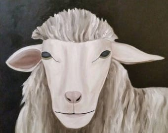 White Sheep #3 - Oil Painting -Large Painting
