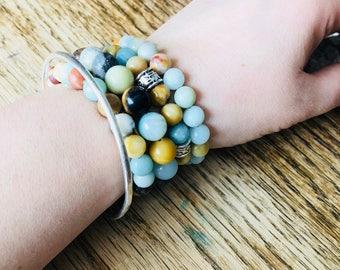 Amazonite Beaded Stretchy Bracelets