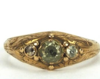 A Chrysolite Antique Ring, Late Georgian early Victorian, Victorian, Georgian, Antique