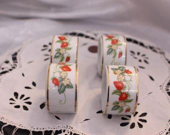 Beautiful Set of 4 Vintage Napkins Rings Bone China Strawberry Porcelain by Avon