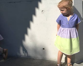 Girls Colour Block Tea Party Dress in Lilac Ombré