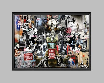Banksy Montage Collage Poster Wall Art Picture Print A4 - A3 - A2 - A1