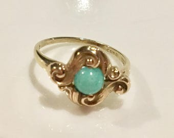 14K and 10k Solid Yellow Gold Art Deco Turquoise Ring~ Sweet!~Size 6 1/4