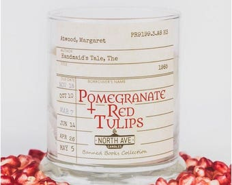 Pomegranate + Red Tulip / Inspired by The Handmaid's Tale / Book Candle / Literary Candle