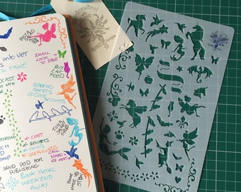 Bullet Journal Stencil, Mythical, mylar planner stencil, Magic Creatures stencil, for Organisers, Filofaxes, Notebooks &  Stationary Stencil