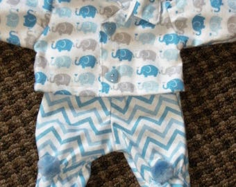 "NEW 14"" Cabbage Patch Preemie Doll Clothes~Footed PJ's/Pajamas~Baby Elephants~Blue"