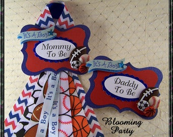 All Sports  Mommy To Be Corsage and Daddy To Be Badge Baby Shower Corsage Sports Theme Mommy Badge Corsage
