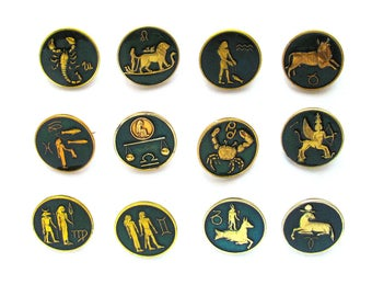 Astrological signs, Set of 12 badges, Zodiac, Vintage collectible badge, Soviet Vintage Pin, Soviet Union, Made in USSR