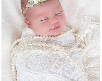 Rustic Tieback, White Flower Crown, Newborn Tieback, Flower Crown, Newborn Photography Prop, Flower Headband, Flower Tieback, Spring Tieback