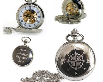 Compass Personalised Double Hunter Mechanical Skeleton Pocket Watch with chain and gift box