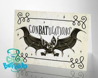 ConBATulations! Bat themed congratulations card - Alternative wedding, birth, Gothic love greetings card